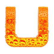 Fresh Orange alphabet symbol - letter U. Water splashes and drops on transpar - stock illustration
