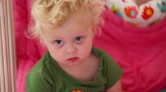 Close-up face of a girl who woke up. Stock Footage