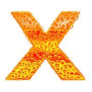 Fresh Orange alphabet symbol - letter X. Water splashes and drops on transpar Stock Illustration