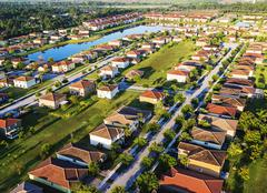 Aerial view of suburbs - stock photo