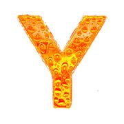 Fresh Orange alphabet symbol - letter Y. Water splashes and drops on transpar - stock illustration