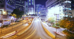 Modern transportation system in city downtown at night. Timelapse of moving cars Stock Footage