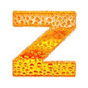 Fresh Orange alphabet symbol - letter Z. Water splashes and drops on transpar - stock illustration