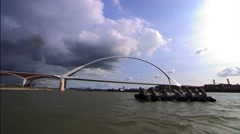 Military crossing the river Waal (waalcrossing) Stock Footage