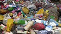 Rubbish in plastic recycling depo in Oudomxay Province, Laos Stock Footage