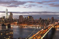 Stock Photo of View of East River and cityscape