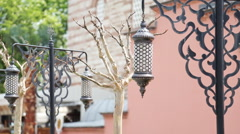 Old Ottoman Lamp, Sultanahmet Square, Istanbul TURKEY - stock footage