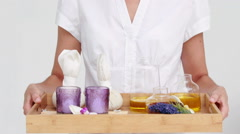 Beauty therapist preparing a treatment Stock Footage