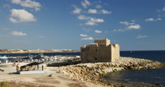 Paphos Castle and calm sea Stock Footage