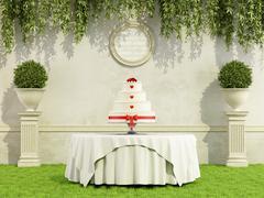 Stock Illustration of Wedding cake in a garden