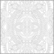Unique coloring book square page for adults - floral authentic c Stock Illustration