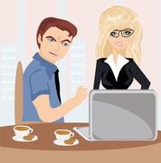 terrified office workers - stock illustration