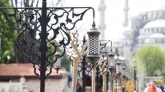 Old Ottoman Lamp, Sultanahmet Square, Istanbul  TURKEY Stock Footage