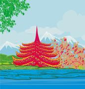 Beautiful landscape in Japan - stock illustration
