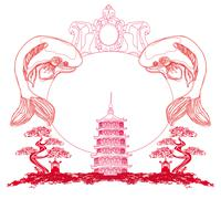 Japanese koi and ancient building - abstract frame Stock Illustration