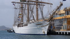 Tall ship Cisne Branco sail boat school ship at pier 1 - San Juan Harbor Stock Footage