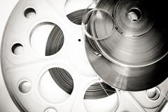 Different 35mm movie detail black and white - stock photo