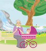 grandmother with her granddaughter for a walk in the park - stock illustration
