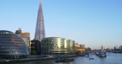 Pan across the Thames,South to North. 4K. Stock Footage