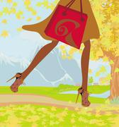 Autumn Shopping , close-up on shoes and shopping bag - stock illustration
