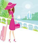 elegant woman on tropical vacation - stock illustration