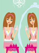 Stock Illustration of young woman spraying perfume on herself and browsing in the mirror
