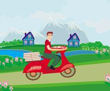 pizza delivery man on a motorcycle - stock illustration
