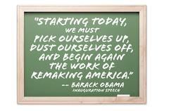 President Obama Quote Series Chalkboard - stock photo