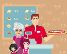 Family dinner at the bar - stock illustration