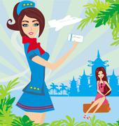 Stock Illustration of Beautiful stewardess with ticket , Abstract card with palm leaves