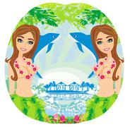Sexy women with garlands Stock Illustration