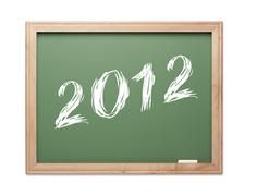 2012 Green Chalk Board on a White Background. Stock Photos