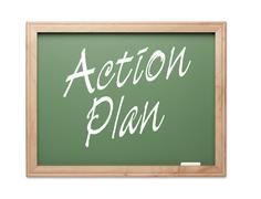 Action Plan Green Chalk Board Series on a White Background. Stock Photos