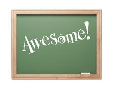 Awesome! Green Chalk Board Kudos Series on a White Background. - stock photo