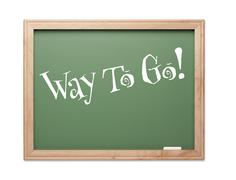 Way To Go! Green Chalk Board Kudos Series on a White Background. - stock photo