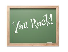You Rock! Green Chalk Board Kudos Series on a White Background. - stock photo