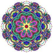 Stock Illustration of mandala, circle decorative spiritual indian symbol of lotus flow