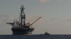 Offshore platform in front of Willemstad, Caribbean island of Curaçao Stock Footage