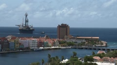 Harbour of Willemstad, capital city of the Caribbean island of Curaçao Stock Footage