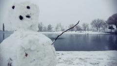 Snowman in Winter Park Stock Footage