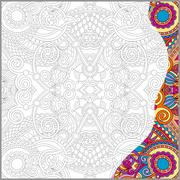 Unique coloring book square page for adults Stock Illustration
