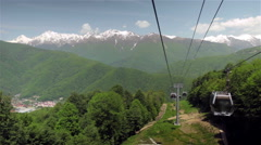 Aerial  lift tramway in the mountain of Sochi. Cable car Stock Footage