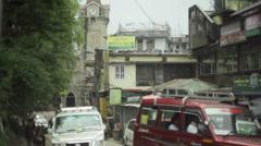 Street in Gangtok city, capital of Sikkim, shallow DOF Stock Footage