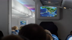 Cabin Navigation map during a flight over the Pacific Stock Footage