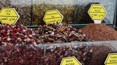 Teas and Spices in Spice Bazaar Stock Footage