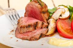 beef filet mignon grilled with vegetables - stock photo