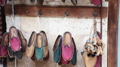Traditional Turkish Shoes in Istanbul City Stock Footage