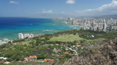 Waikiki beach view from Diamond Head 1 Stock Footage