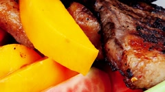 Rare medium roast beef fillet with mango Stock Footage