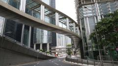 Overground pedestrian crossing overlooking the Citibank Plaza, Hong Kong Stock Footage